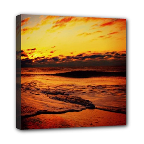 Stunning Sunset On The Beach 2 Mini Canvas 8  X 8  by MoreColorsinLife