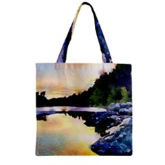 Stunning Nature Evening Zipper Grocery Tote Bags by MoreColorsinLife