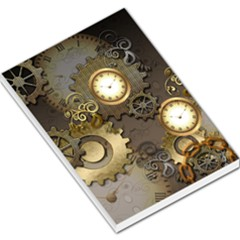Steampunk, Golden Design With Clocks And Gears Large Memo Pads by FantasyWorld7