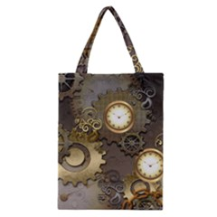 Steampunk, Golden Design With Clocks And Gears Classic Tote Bags by FantasyWorld7