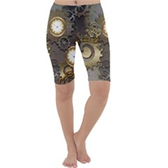Steampunk, Golden Design With Clocks And Gears Cropped Leggings by FantasyWorld7
