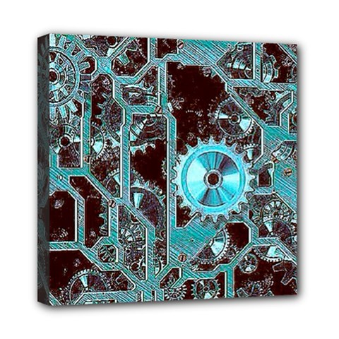 Steampunk Gears Turquoise Mini Canvas 8  X 8  by MoreColorsinLife