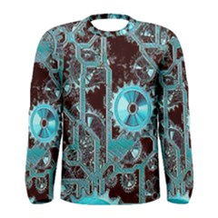 Steampunk Gears Turquoise Men s Long Sleeve T Shirts by MoreColorsinLife