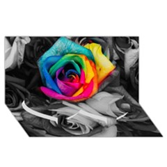 Blach,white Splash Roses Twin Heart Bottom 3d Greeting Card (8x4)  by MoreColorsinLife