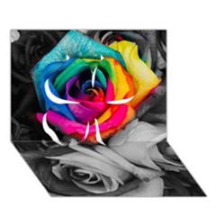 Blach,white Splash Roses Clover 3d Greeting Card (7x5)  by MoreColorsinLife