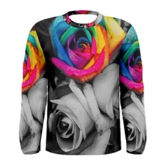 Blach,white Splash Roses Men s Long Sleeve T Shirts