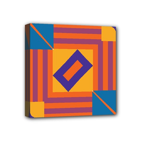 Shapes And Stripes Symmetric Design Mini Canvas 4  X 4  (stretched) by LalyLauraFLM