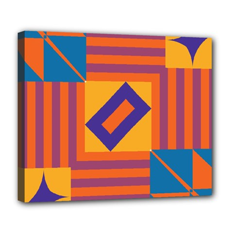 Shapes And Stripes Symmetric Design Deluxe Canvas 24  X 20  (stretched) by LalyLauraFLM