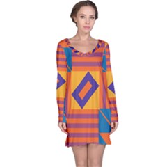 Shapes And Stripes Symmetric Design Nightdress by LalyLauraFLM
