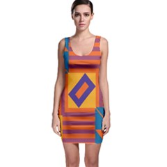 Shapes And Stripes Symmetric Design Bodycon Dress by LalyLauraFLM