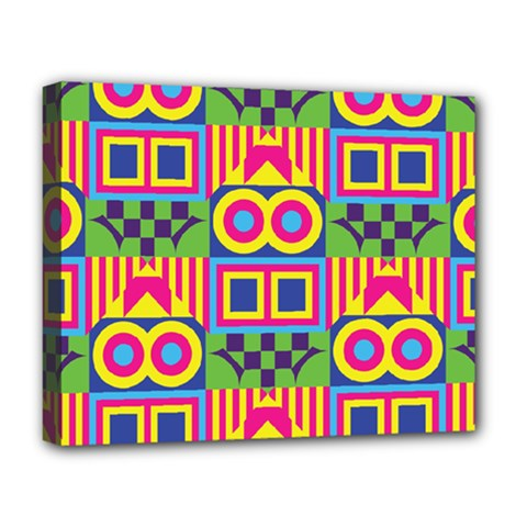 Colorful Shapes In Rhombus Pattern Deluxe Canvas 20  X 16  (stretched) by LalyLauraFLM