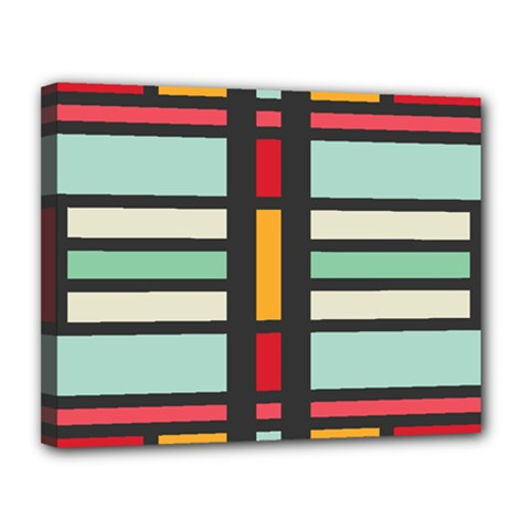 Mirrored Rectangles In Retro Colors Canvas 14  X 11  (stretched) by LalyLauraFLM