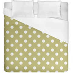 Lime Green Polka Dots Duvet Cover Single Side (kingsize) by creativemom