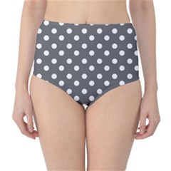 Gray Polka Dots High-waist Bikini Bottoms by creativemom