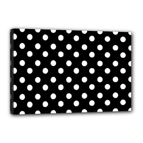 Black And White Polka Dots Canvas 18  X 12  by creativemom