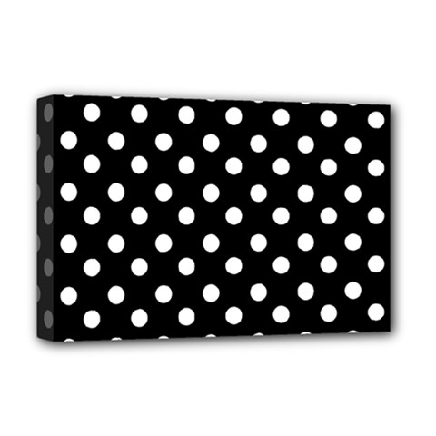 Black And White Polka Dots Deluxe Canvas 18  X 12   by creativemom