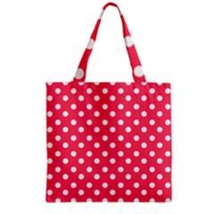 Hot Pink Polka Dots Grocery Tote Bags by creativemom