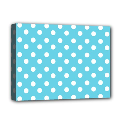 Sky Blue Polka Dots Deluxe Canvas 16  X 12   by creativemom
