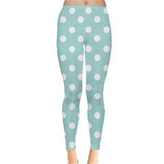 Blue And White Polka Dots Women s Leggings by creativemom