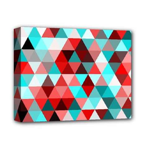 Geo Fun 07 Red Deluxe Canvas 14  X 11  by MoreColorsinLife