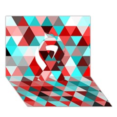 Geo Fun 07 Red Ribbon 3d Greeting Card (7x5)  by MoreColorsinLife