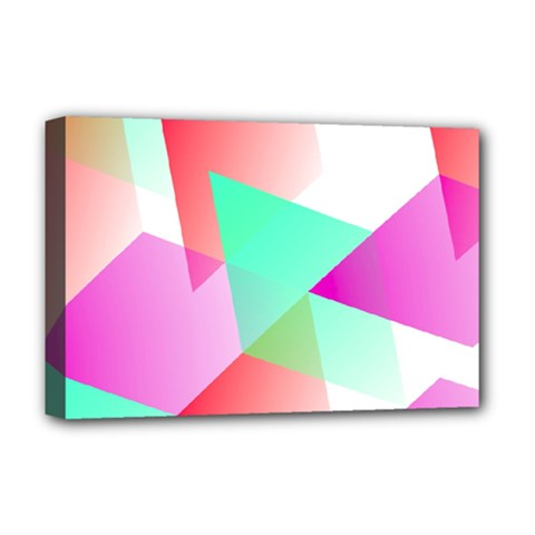Geometric 03 Pink Deluxe Canvas 18  X 12   by MoreColorsinLife
