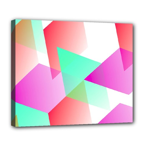 Geometric 03 Pink Deluxe Canvas 24  X 20   by MoreColorsinLife