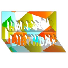 Geometric 03 Orange Happy Birthday 3d Greeting Card (8x4)  by MoreColorsinLife