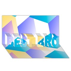 Geometric 03 Blue Best Bro 3d Greeting Card (8x4)  by MoreColorsinLife