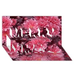 Awesome Flowers Red Merry Xmas 3d Greeting Card (8x4)