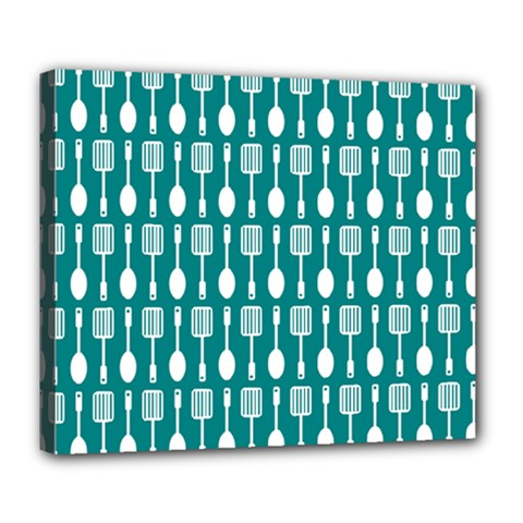 Teal And White Spatula Spoon Pattern Deluxe Canvas 24  X 20   by creativemom