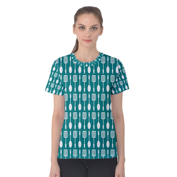 Teal And White Spatula Spoon Pattern Women s Cotton Tees