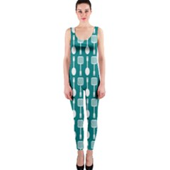 Teal And White Spatula Spoon Pattern Onepiece Catsuits by creativemom