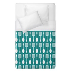 Teal And White Spatula Spoon Pattern Duvet Cover Single Side (single Size) by creativemom