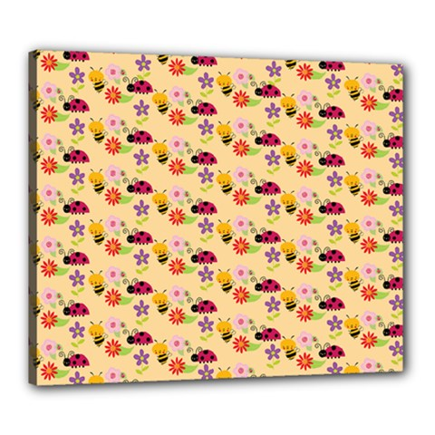 Colorful Ladybug Bess And Flowers Pattern Canvas 24  X 20  by creativemom