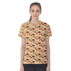 Colorful Ladybug Bess And Flowers Pattern Women s Cotton Tees