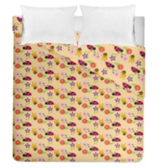 Colorful Ladybug Bess And Flowers Pattern Duvet Cover (full/queen Size)