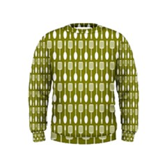 Olive Green Spatula Spoon Pattern Boys  Sweatshirts by creativemom