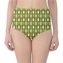 Olive Green Spatula Spoon Pattern High-waist Bikini Bottoms by creativemom