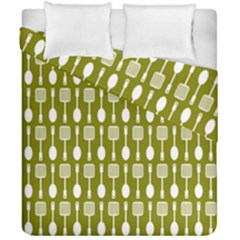 Olive Green Spatula Spoon Pattern Duvet Cover (double Size) by creativemom