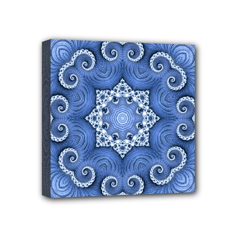 Awesome Kaleido 07 Blue Mini Canvas 4  X 4  by MoreColorsinLife