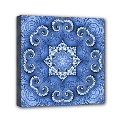 Awesome Kaleido 07 Blue Mini Canvas 6  X 6  by MoreColorsinLife