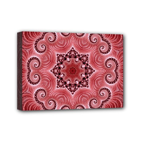 Awesome Kaleido 07 Red Mini Canvas 7  X 5  by MoreColorsinLife