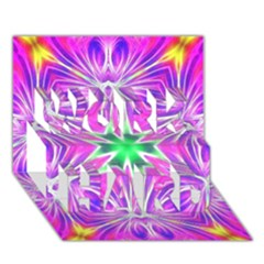 Kaleido Art, Pink Fractal Work Hard 3d Greeting Card (7x5)  by MoreColorsinLife