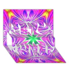 Kaleido Art, Pink Fractal Get Well 3d Greeting Card (7x5)  by MoreColorsinLife