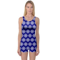 Abstract Knot Geometric Tile Pattern Women s Boyleg One Piece Swimsuits