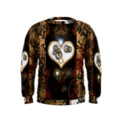Steampunk, Awesome Heart With Clocks And Gears Boys  Sweatshirts