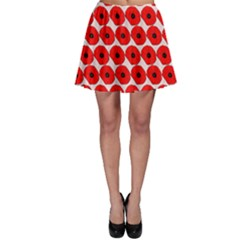Red Peony Flower Pattern Skater Skirts
