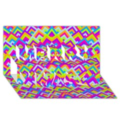 Colorful Trendy Chic Modern Chevron Pattern Merry Xmas 3d Greeting Card (8x4)  by creativemom