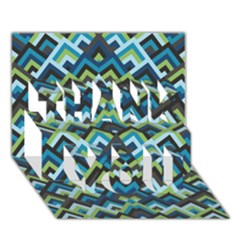Trendy Chic Modern Chevron Pattern Thank You 3d Greeting Card (7x5)  by creativemom